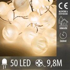 Vianočná LED svetelná reťaz vonkajšia guľky s časovačom - 50LED - 9,8M Teplá biela