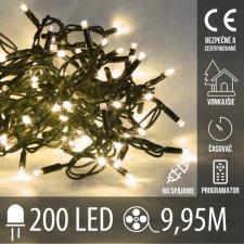 Vianočná LED svetelná reťaz vonkajšia na spájanie s časovačom + programy - 200LED - 9,95M Teplá biela
