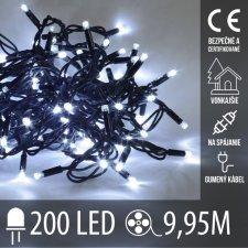 Vianočná LED svetelná reťaz vonkajšia na spájanie s gumeným káblom - 200LED - 9,95M Studená biela