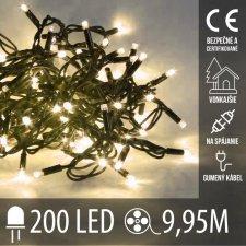 Vianočná LED svetelná reťaz vonkajšia na spájanie s gumeným káblom - 200LED - 9,95M Teplá biela