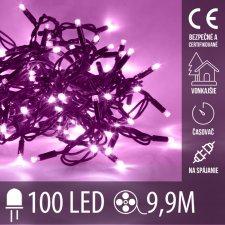 Vianočná LED svetelná reťaz vonkajšia na spájanie s časovačom - 100LED - 9,90M Fialová