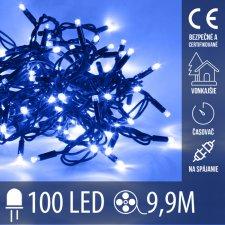 Vianočná LED svetelná reťaz vonkajšia na spájanie s časovačom - 100LED - 9,90M Modrá