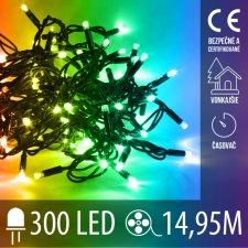 Vianočná LED svetelná reťaz vonkajšia s časovačom - 300LED - 14,95M Multicolour