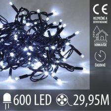 Vianočná LED svetelná reťaz vonkajšia s časovačom - 600LED - 29,95M Studená biela