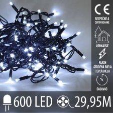 Vianočná LED svetelná reťaz vonkajšia s časovačom FLASH - 600LED - 29,95M Studená Biela+Teplá Biela