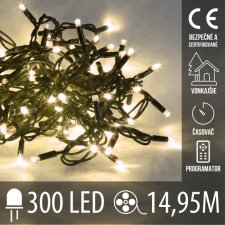 Vianočná LED svetelná reťaz vonkajšia s časovačom + programy - 300LED - 14,95M Teplá biela