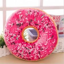 Dekoratívny vankúš – Donut s rúžovou polevou