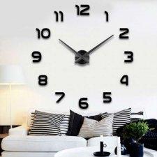 Veľké nástenné hodiny 80-120cm čierne  - 12 číslic