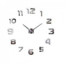 Veľké nástenné hodiny 80-120cm strieborné  - 12 číslic