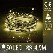 Vianočná LED svetelná mikro reťaz vnútorná na batérie - 50LED - 4,90M Teplá biela