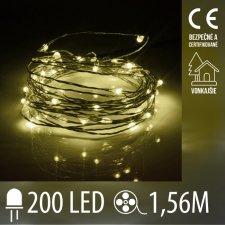 Vianočná LED svetelná mikro reťaz vonkajšia - 200LED - 1,56M Teplá Biela