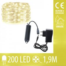 Vianočná LED svetelná mikro reťaz vonkajšia - 200LED - 1,9M Teplá Biela