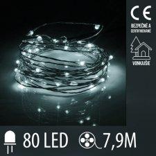 Vianočná LED svetelná mikro reťaz vonkajšia - 80LED - 7,9M Studená biela