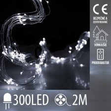 Vianočná LED svetelná mikro reťaz vonkajšia + programator - anjelské vlasy 15 liniek - 300LED - 2M Studená Biela