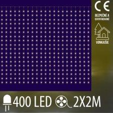 Vianočná LED svetelná mikro záclona vonkajšia - záves - 400LED - 2x2M Teplá biela