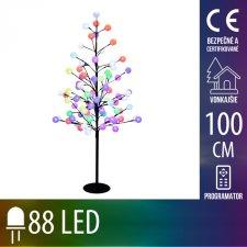 Vianočná LED svetelná ozdoba - strom s guľami - 88LED - 1M - Multicolour