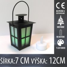 Vianočná LED svetelná ozdoba vnútorná - na batérie - Lampáš - 7x12CM - 7 LED farieb