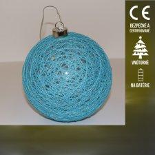 Vianočná LED svetelná ozdoba vnútorná - na batérie - bavlnená guľa - Teplá biela