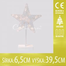 Vianočná LED svetelná ozdoba vnútorná - na batérie - Biela hviezda - 6,5x39,5CM - Teplá biela