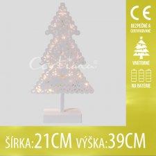 Vianočná LED svetelná ozdoba vnútorná - na batérie - Biely stromček - 21x39CM - Teplá biela