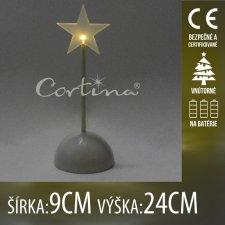Vianočná LED svetelná ozdoba vnútorná - na batérie - Hviezda - 9x24CM - Teplá biela