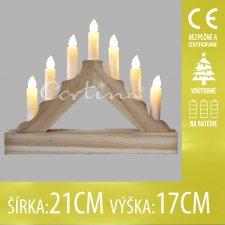 Vianočná LED svetelná ozdoba vnútorná - na batérie - Drevený svietnik - 7LED - 21x17CM - Teplá biela