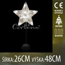 Vianočná LED svetelná ozdoba vnútorná - na batérie - Drôtená hviezda - 26x48CM - Teplá biela