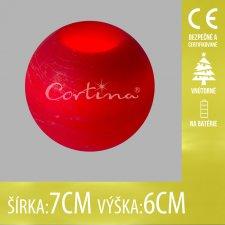 Vianočná LED svetelná ozdoba vnútorná - na batérie - guľa červená - 7x6CM - Teplá biela