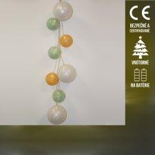 Vianočná LED svetelná ozdoba vnútorná - na batérie - gule MIX - Teplá biela