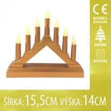 Vianočná LED svetelná ozdoba vnútorná - na batérie - Hnedý svietnik - 7LED - 15,5x14CM - Teplá biela