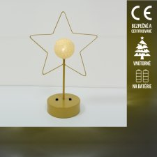 Vianočná LED svetelná ozdoba vnútorná - na batérie - hviezda s guľou - Teplá biela
