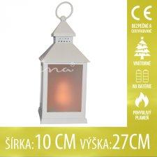 Vianočná LED svetelná ozdoba vnútorná - na batérie - Lampáš biely - 10x27CM - Teplá biela