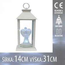 Vianočná LED svetelná ozdoba vnútorná - na batérie - Lampáš biely s anjelom - 14x31CM - Studená biela