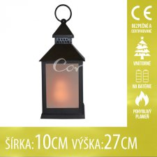 Vianočná LED svetelná ozdoba vnútorná - na batérie - Lampáš čierny - 10x27CM - Teplá biela
