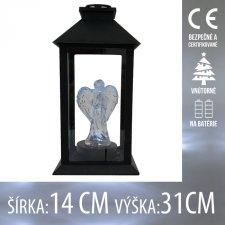 Vianočná LED svetelná ozdoba vnútorná - na batérie - Lampáš čierny s anjelom - 14x31CM - Studená biela