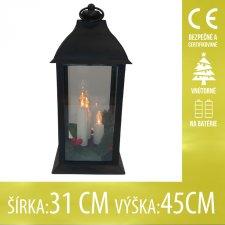 Vianočná LED svetelná ozdoba vnútorná - na batérie - Lampáš čierny so sviečkami - 31x45CM - Teplá biela
