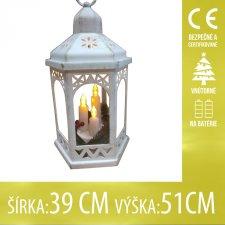 Vianočná LED svetelná ozdoba vnútorná - na batérie - Lampáš so sviečkami biely - 39x51CM - Teplá biela
