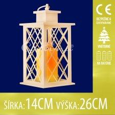 Vianočná LED svetelná ozdoba vnútorná - na batérie - Lampáš so sviečkou - 14x26CM - Teplá biela
