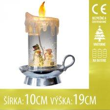 Vianočná LED svetelná ozdoba vnútorná - na batérie - sviečka - 10x19CM - Teplá biela