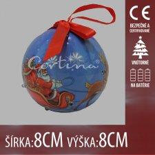 Vianočná LED svetelná ozdoba vnútorná - na batérie - vianočná guľa Santa Claus - 8x8CM - Červená
