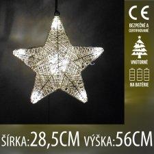 Vianočná LED svetelná ozdoba vnútorná - na batérie - Visiaca hviezda - 10LED - 28,5x56CM - Teplá biela