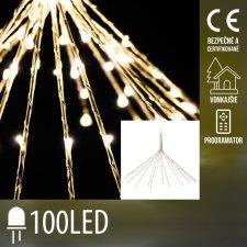 Vianočná LED svetelná ozdoba vonkajšia + programator - explodujúca hviezda 20 vetvičiek - 100LED - Teplá biela