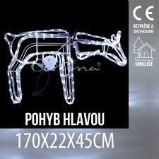 Vianočná LED svetelná ozdoba vonkajšia - Sob pohybujúci hlavou - 70x22x45CM - Studená Biela
