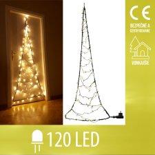 Vianočná LED svetelná ozdoba vonkajšia - stromček na dvere - 120LED - Teplá Biela