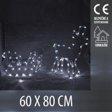 Vianočná LED svetelná ozdoba vonkajšia - svietiaci sob so saňami - 60x80CM - Studená Biela