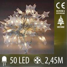Vianočná LED svetelná reťaz - hviezdičky - 50LED - 2,45M Teplá biela