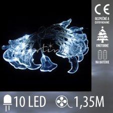 Vianočná LED svetelná reťaz vnútorná na batérie - zvončeky/mesiačiky - 10LED - 1,35M Studená biela