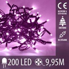 Vianočná LED svetelná reťaz na spájanie vnútorná - 200LED - 9,95M Fialová