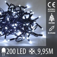 Vianočná LED svetelná reťaz na spájanie vnútorná - 200LED - 9,95M Studená Biela