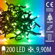 Vianočná LED svetelná reťaz na spájanie vnútorná + programy - 200LED - 9,90M Multicolour